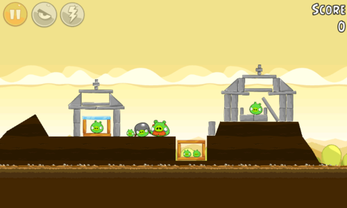 Level showing a cemetery with pigs around